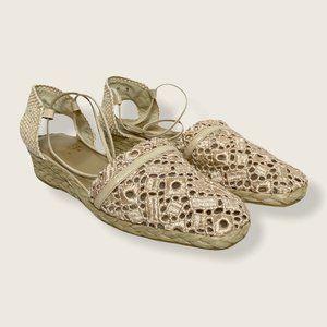 Stuart Weitzman Woven & Eyelet Sandals
